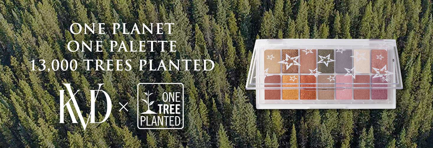 Planet Fanatic Eyeshadow Palette with the background filled with trees